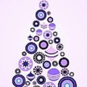 Pine Tree Ornaments - Purple Poster