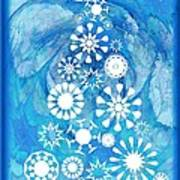 Pine Tree Snowflakes - Baby Blue Poster