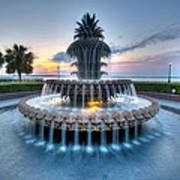 Pineapple Fountain At Waterfront Park Poster