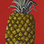 Pineapple On Red Poster