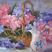 Pink And Blue Hydrangeas Poster