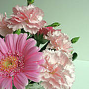 Pink And Green Floral Poster
