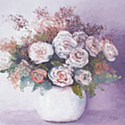 Pink And White Roses Poster by Jan Matson