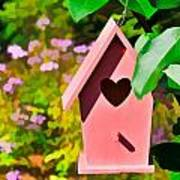 Pink Heart Birdhouse Poster