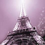 Pink Eiffel Tower Paris Poster