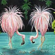 Pink Flamingo Booty Tropical Birds Art Cathy Peek Poster
