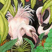 Pink Flamingos Jungle Cathy Peek Tropical Bird Art Poster