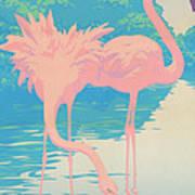 abstract Pink Flamingos retro pop art nouveau tropical bird 80s 1980s florida painting print Poster