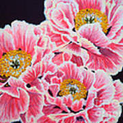 Peony Painting Oil On Canvas No.2 Poster by Drinka Mercep