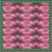 Pink Flower Petal Based Crystal Beads In Sync Wave Pattern Poster
