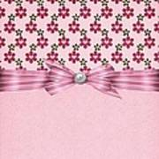 Pink Flowered Hearts  Poster