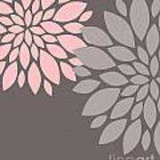 Pink Grey Peony Flowers Poster