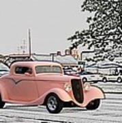 Pink Hot Rod Cruising Woodward Avenue Dream Cruise Selective Coloring Poster