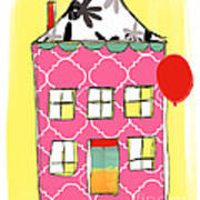 Pink House Poster by Linda Woods