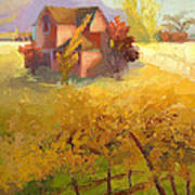 Pink House Yellow Field Poster