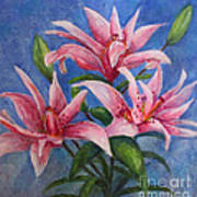Pink Lilies Poster by Terri Maddin-Miller