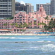 Pink Palace On Waikiki Beach Poster