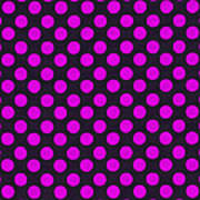 Pink Polka Dots On Black Fabric Background Poster