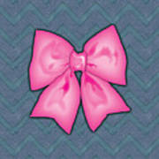 Pink Ribbon Chevron Denim Background Poster
