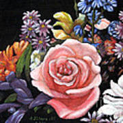 Pink Rose Floral Painting Poster