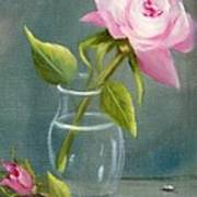 Pink Rose In Glass Poster
