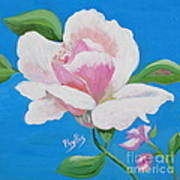 Pink Rose In Paint Poster