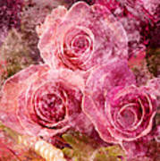 Pink Roses And Pearls Poster
