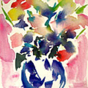 Pink Roses In A Blue Vase Poster