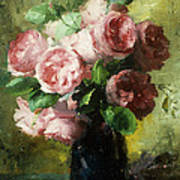 Pink Roses In A Vase Poster