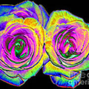 Pink Roses With Colored Foil Effects Poster