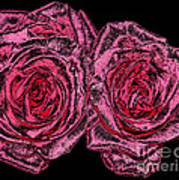 Pink Roses With Dark And Rough Chrome  Effects Poster