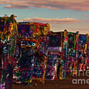 Pink Sky At Cadillac Ranch Poster