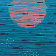 Pink Sunset And Fish Underwater Cartoon Poster