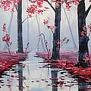 Pink Trees River Landscape Poster