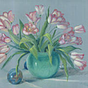Pink Tulips In Green Vase Poster