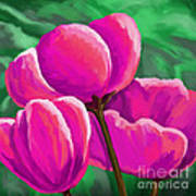 Pink Tulips On Green Poster