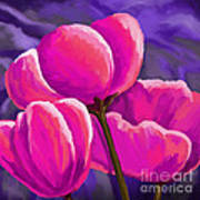 Pink Tulips On Purple Poster