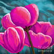 Pink Tulips On Teal Poster