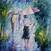 Pink Umbrella - Palette Knife Oil Painting On Canvas By Leonid Afremov Poster