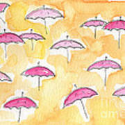 Pink Umbrellas Poster by Linda Woods