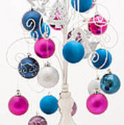 Pink White And Blue Christmas Poster by Anne Gilbert