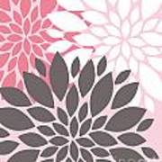 Pink White Grey Peony Flowers Poster