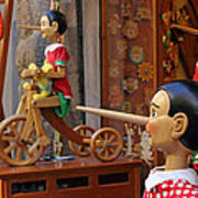 Pinocchio Inviting Tourists In Souvenirs Shop Poster