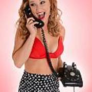 Pinup Girl On The Phone Poster