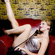 Pinup Girl With Phone Poster