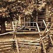 Pioneer Cabin In Sepia 1 Poster