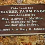 Pioneer Farm Park Plaque At Andersonville Georgia Poster