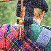 Piper In Red Macpherson Tartan Poster