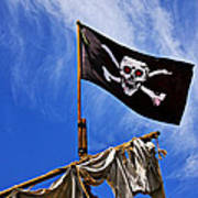 Pirate Flag On Ships Mast Poster