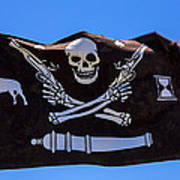 Pirate Flag With Skull And Pistols Poster